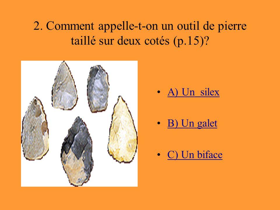 2. Comment appelle-t-on un outil de pierre taillé sur deux cotés (p