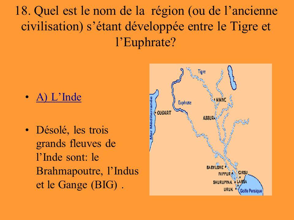 18. Quel est le nom de la région (ou de l'ancienne civilisation) s'étant développée entre le Tigre et l'Euphrate