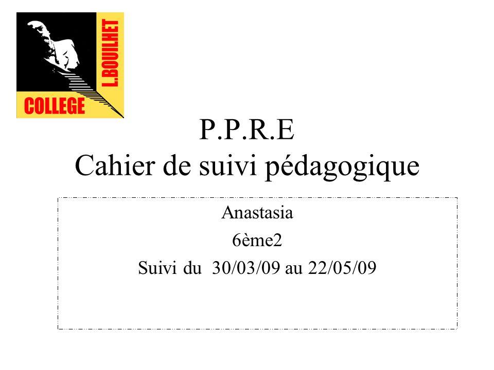 P.P.R.E Cahier de suivi pédagogique