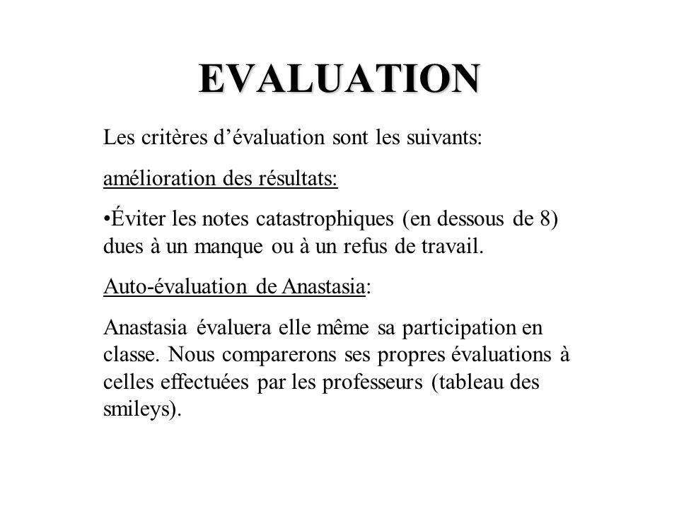 EVALUATION Les critères d'évaluation sont les suivants:
