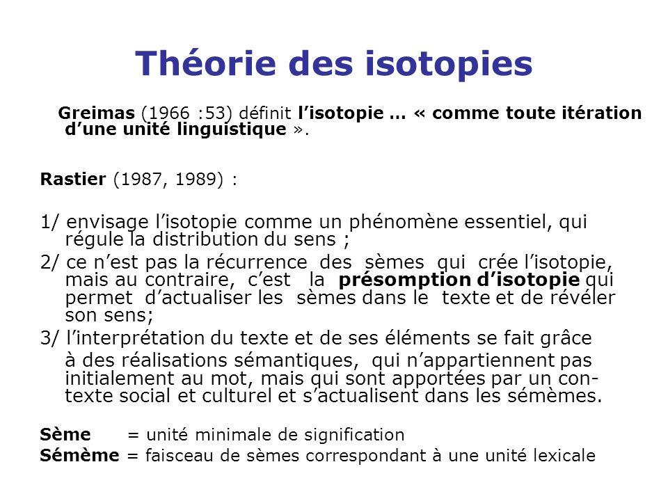 Théorie des isotopies Greimas (1966 :53) définit l'isotopie … « comme toute itération d'une unité linguistique ».
