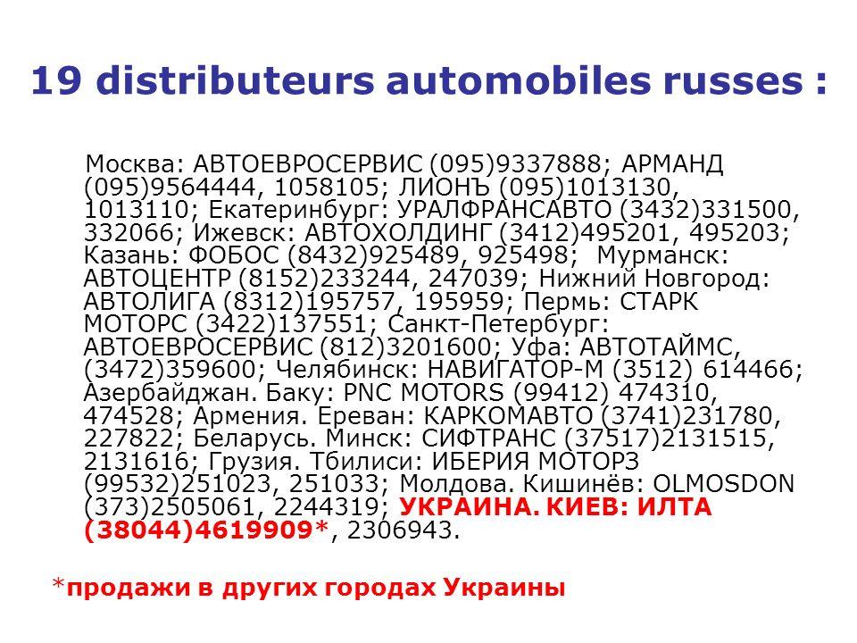 19 distributeurs automobiles russes :