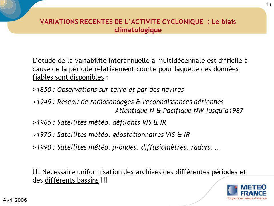 VARIATIONS RECENTES DE L'ACTIVITE CYCLONIQUE : Le biais climatologique