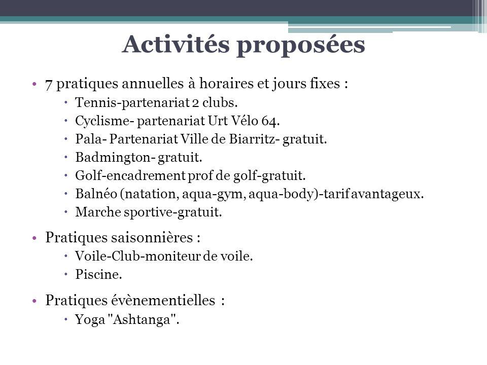 Activités proposées 7 pratiques annuelles à horaires et jours fixes :