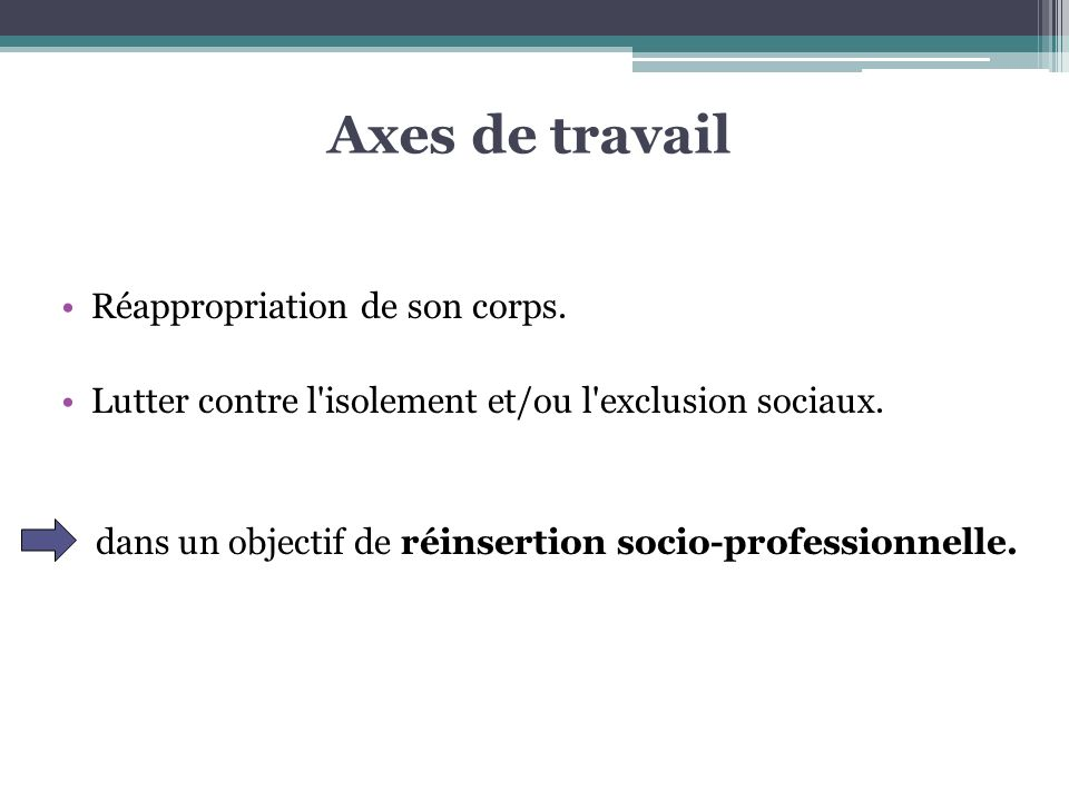 Axes de travail Réappropriation de son corps.