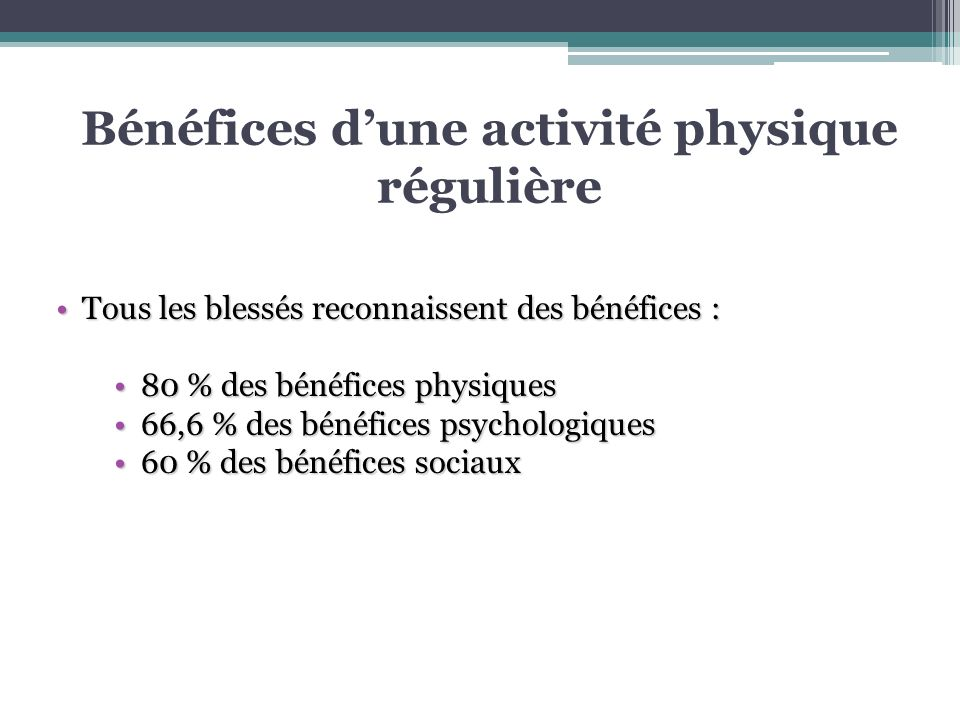 Bénéfices d'une activité physique régulière