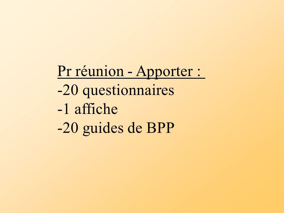 Pr réunion - Apporter : 20 questionnaires 1 affiche 20 guides de BPP