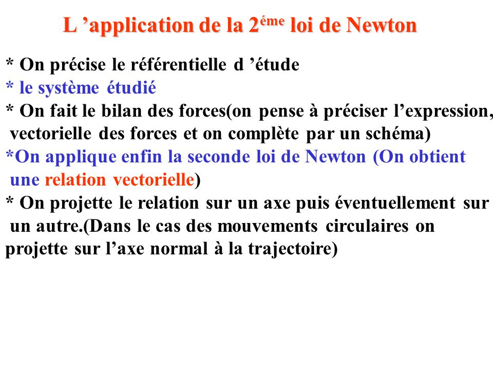 L 'application de la 2éme loi de Newton