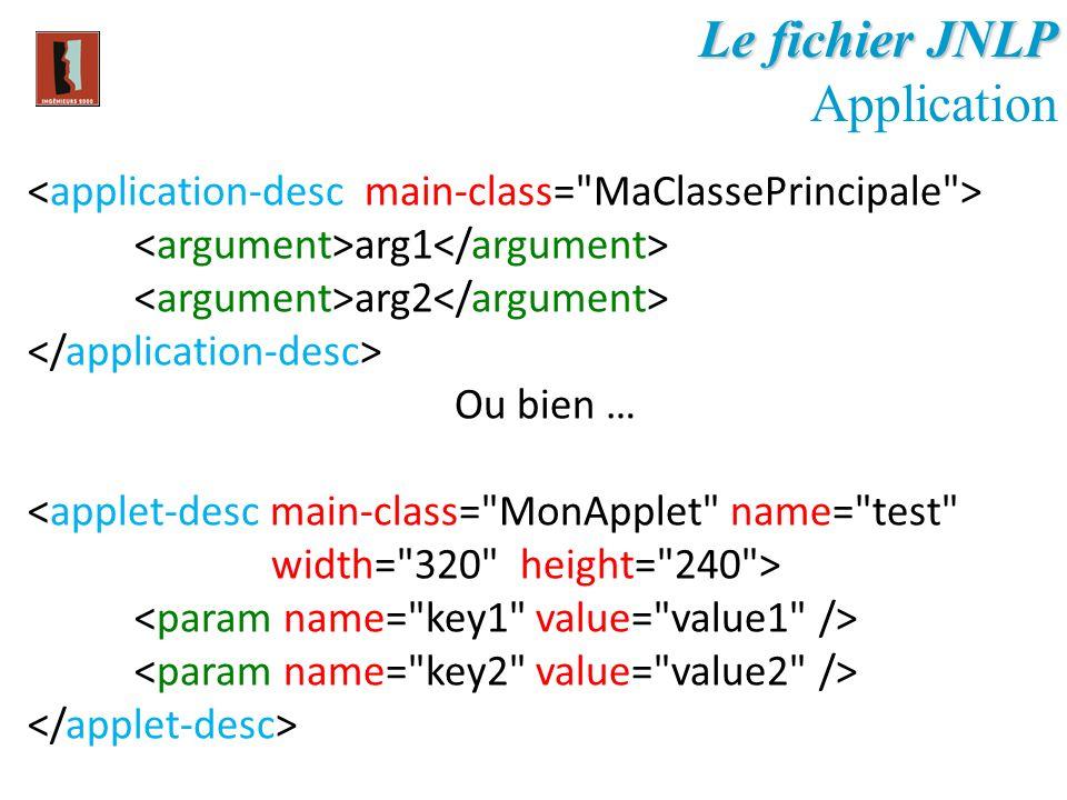 Le fichier JNLP Application