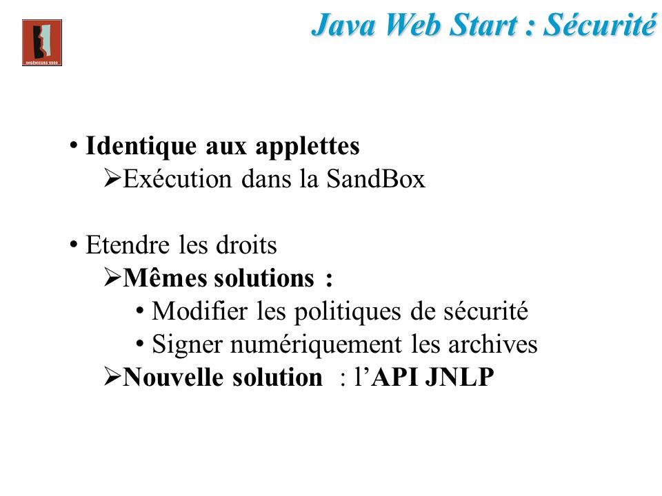 Java Web Start : Sécurité