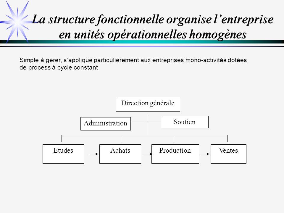 La structure fonctionnelle organise l'entreprise en unités opérationnelles homogènes