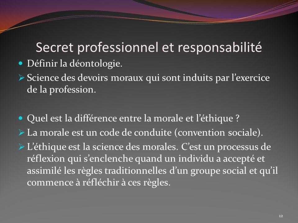 Secret professionnel et responsabilité