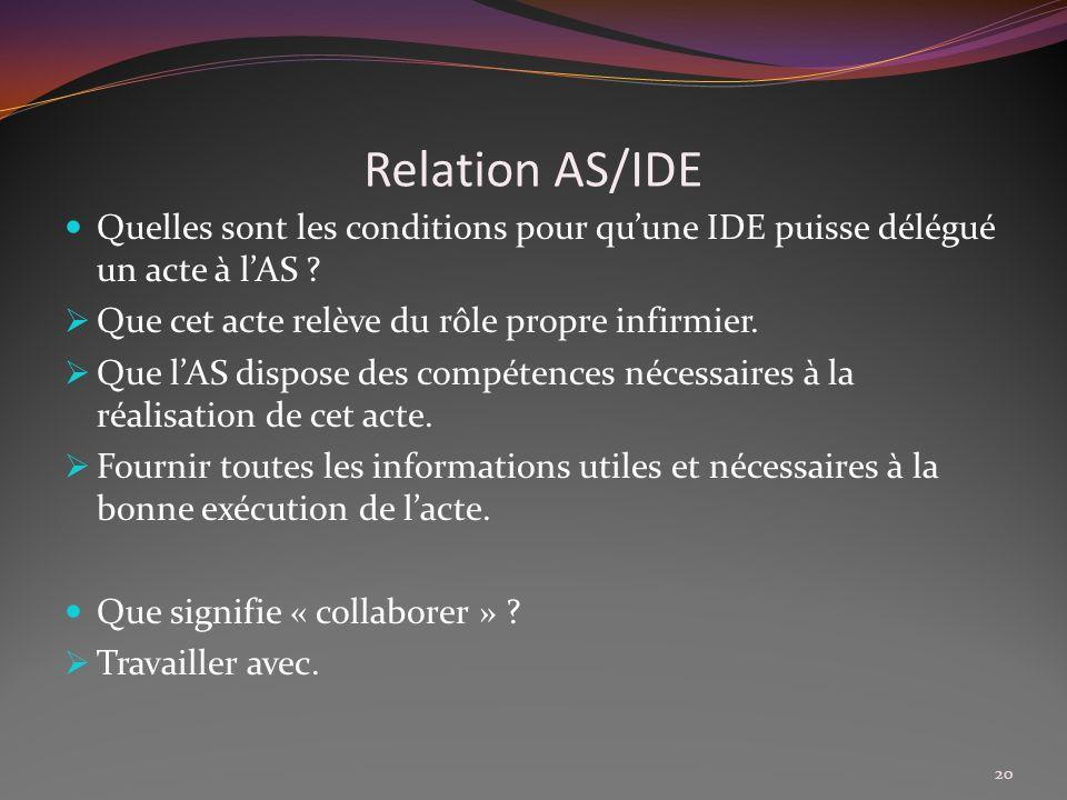 Relation AS/IDE Quelles sont les conditions pour qu'une IDE puisse délégué un acte à l'AS Que cet acte relève du rôle propre infirmier.