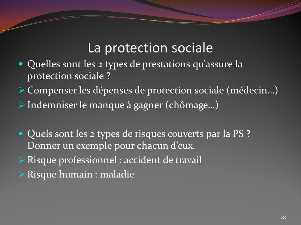 La protection sociale Quelles sont les 2 types de prestations qu'assure la protection sociale