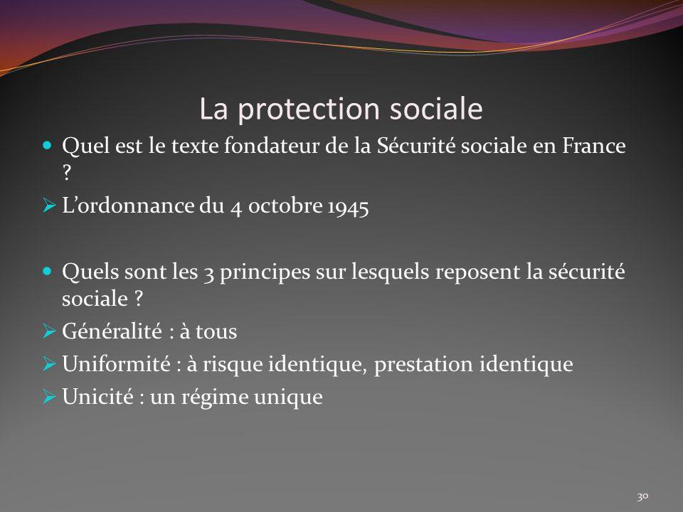 La protection sociale Quel est le texte fondateur de la Sécurité sociale en France L'ordonnance du 4 octobre 1945.