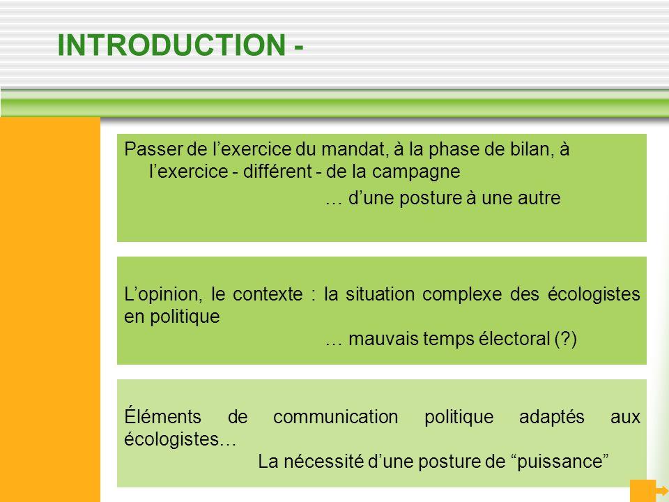 INTRODUCTION - Passer de l'exercice du mandat, à la phase de bilan, à l'exercice - différent - de la campagne.
