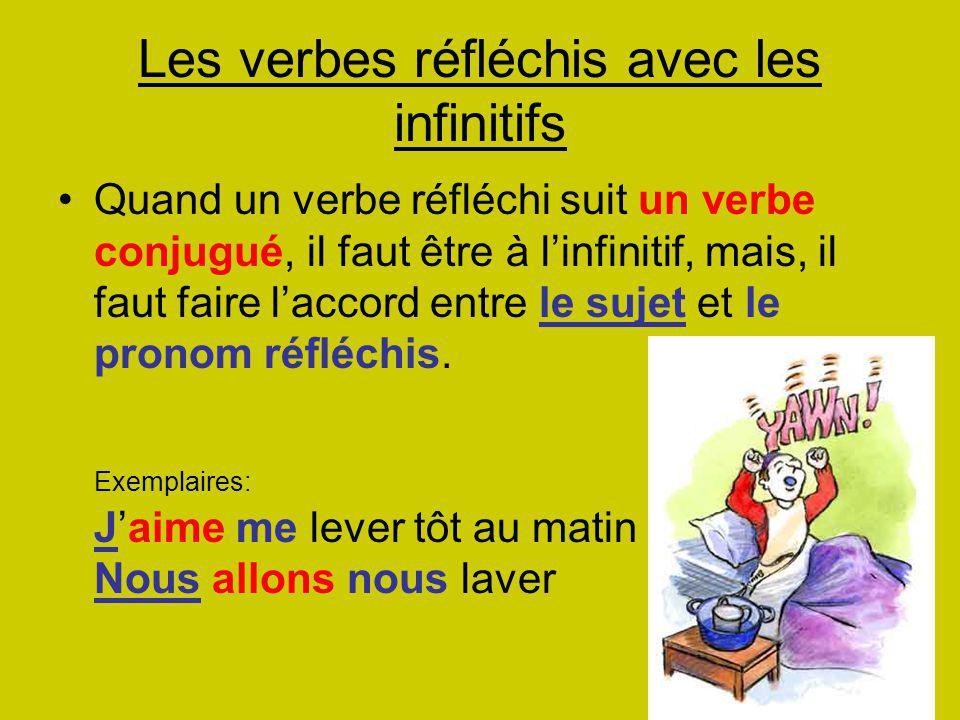 Les verbes réfléchis avec les infinitifs