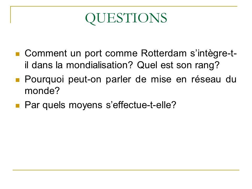 QUESTIONS Comment un port comme Rotterdam s'intègre-t-il dans la mondialisation Quel est son rang