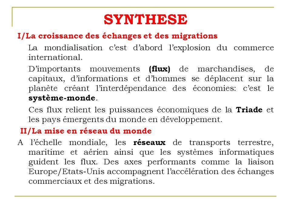 SYNTHESE I/La croissance des échanges et des migrations