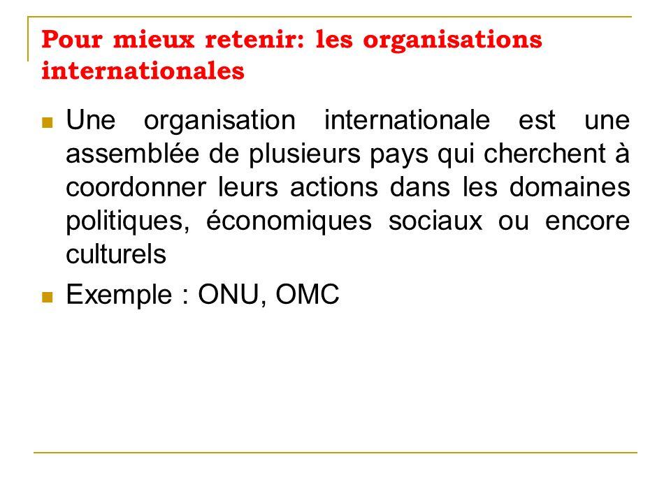 Pour mieux retenir: les organisations internationales
