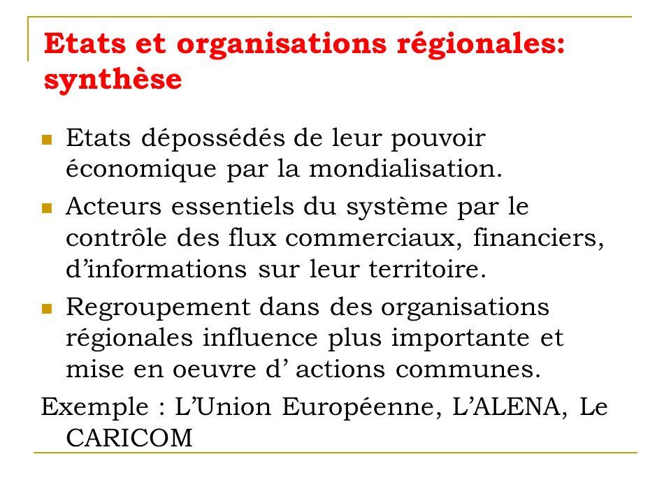 Etats et organisations régionales: synthèse