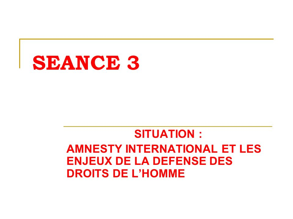 SEANCE 3 SITUATION : AMNESTY INTERNATIONAL ET LES ENJEUX DE LA DEFENSE DES DROITS DE L'HOMME