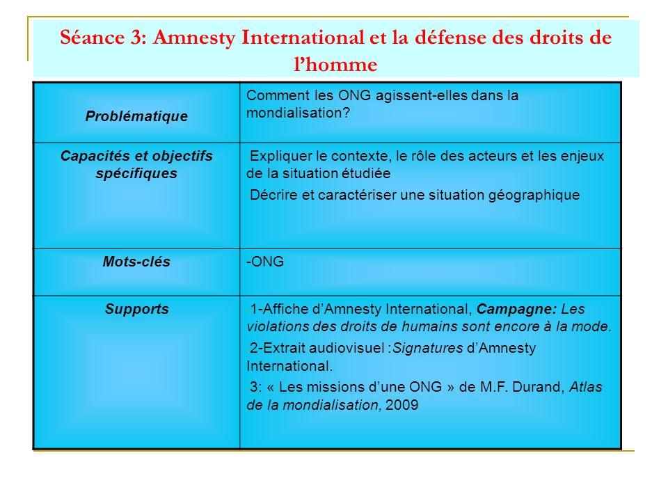 Séance 3: Amnesty International et la défense des droits de l'homme