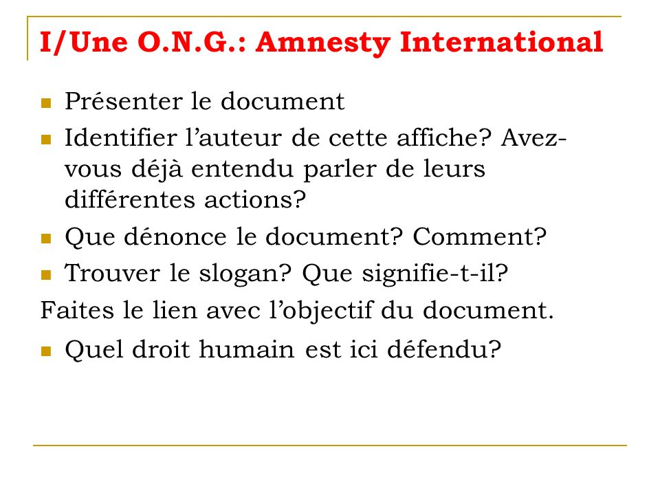 I/Une O.N.G.: Amnesty International