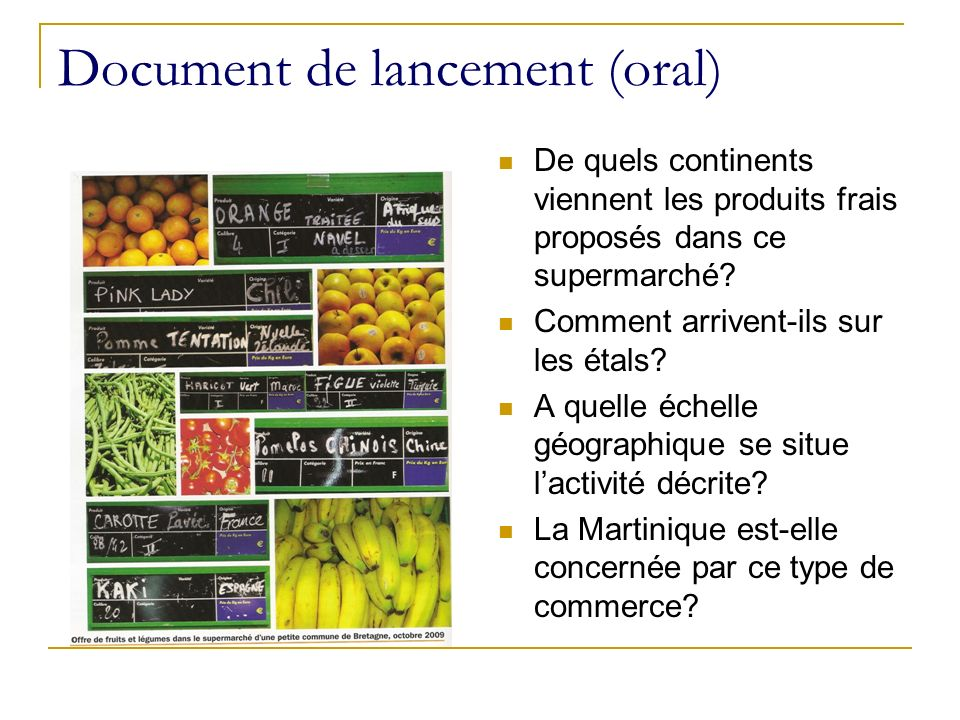 Document de lancement (oral)