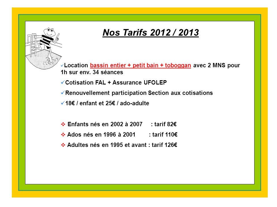 Nos Tarifs 2012 / 2013 Cotisation FAL + Assurance UFOLEP