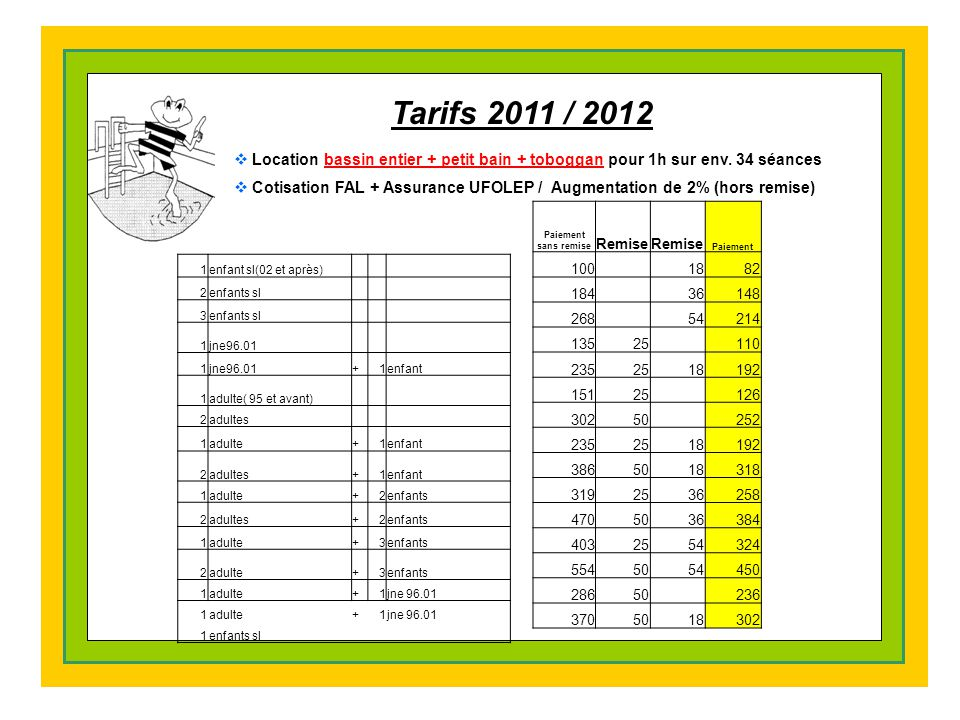 Tarifs 2011 / 2012 Location bassin entier + petit bain + toboggan pour 1h sur env. 34 séances.