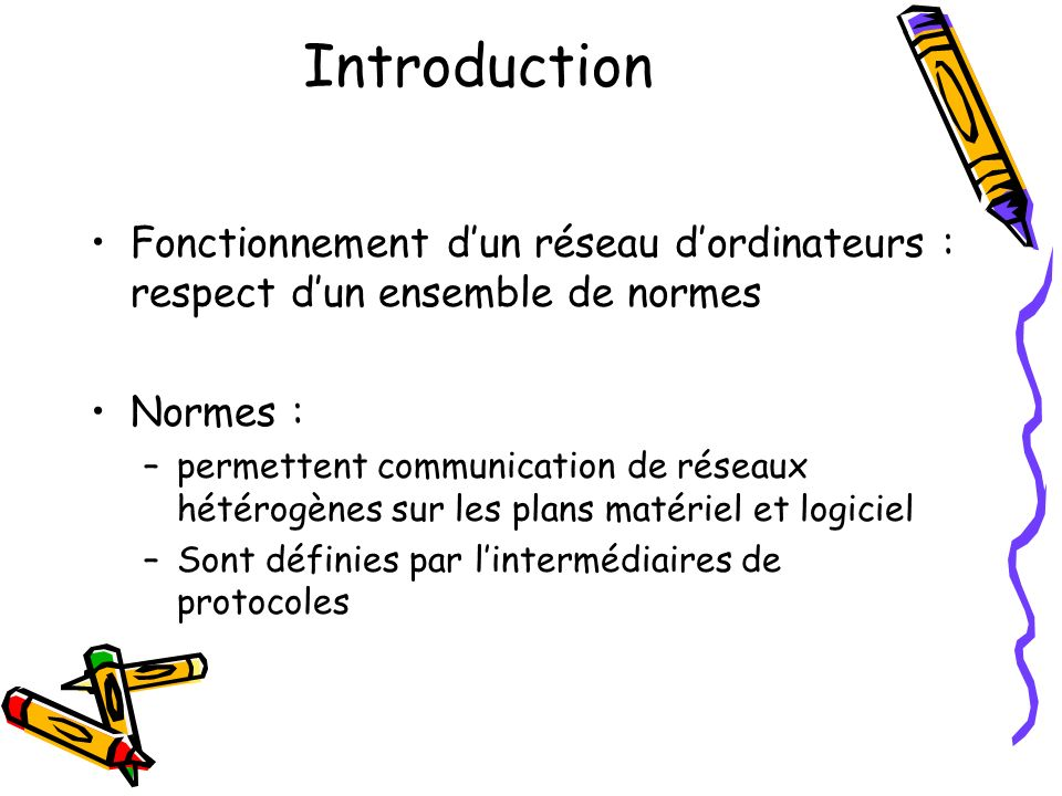 Introduction Fonctionnement d'un réseau d'ordinateurs : respect d'un ensemble de normes. Normes :