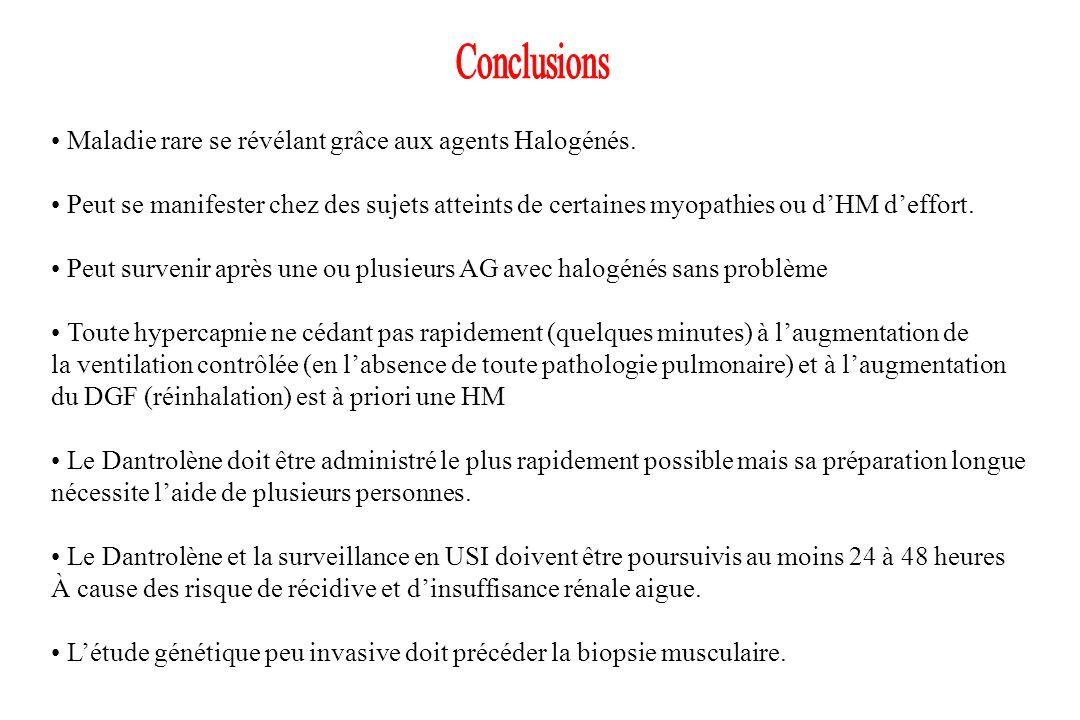 Conclusions • Maladie rare se révélant grâce aux agents Halogénés.