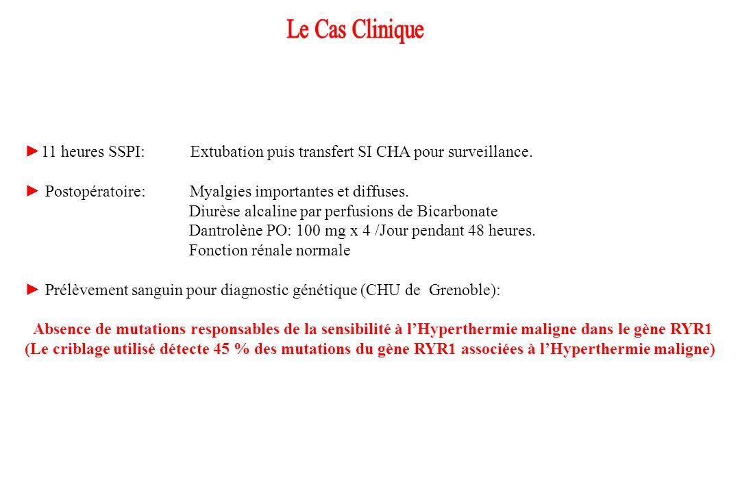 Le Cas Clinique ►11 heures SSPI: Extubation puis transfert SI CHA pour surveillance.