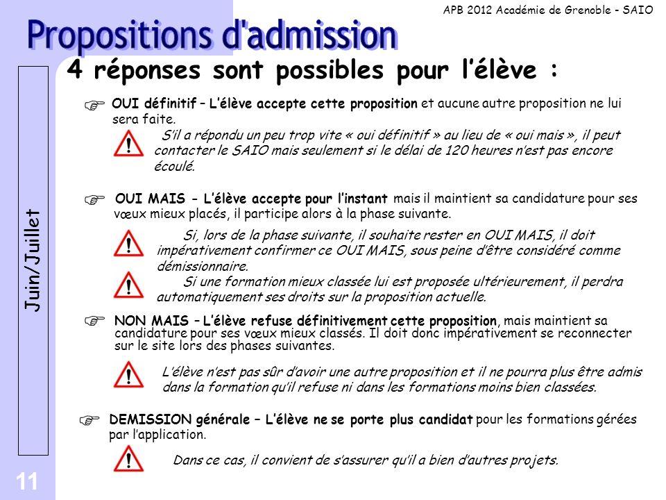 Propositions d admission