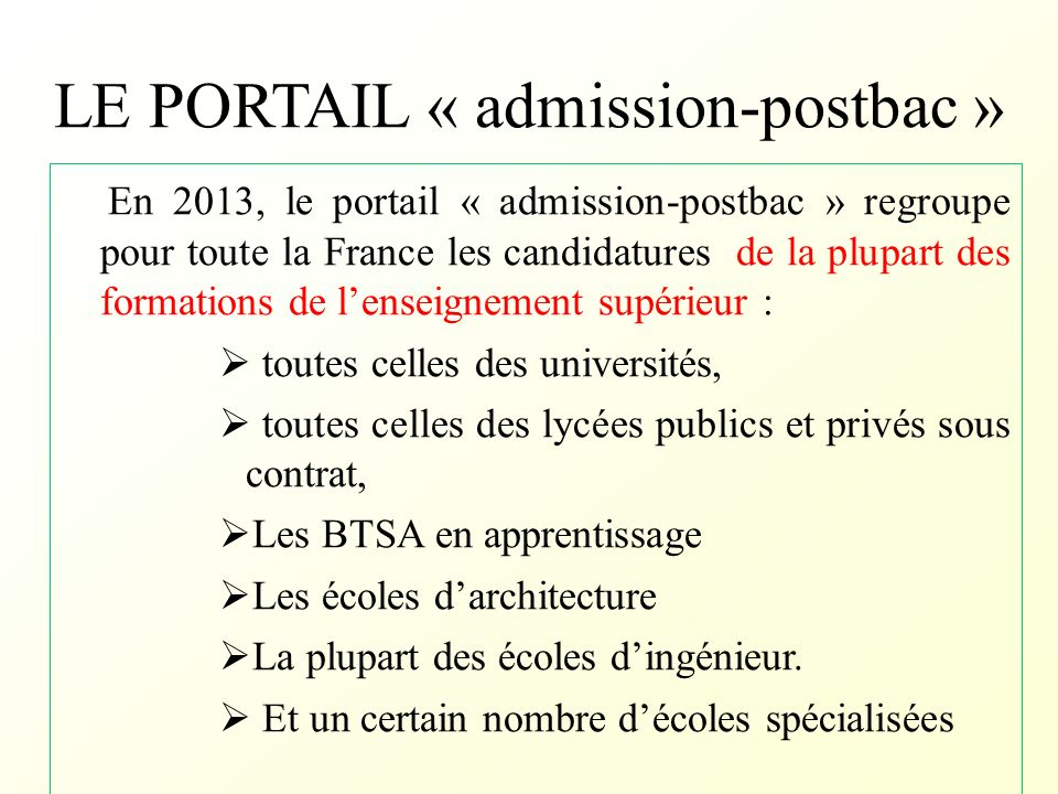 LE PORTAIL « admission-postbac »