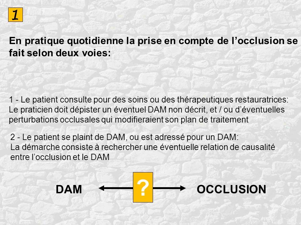 1En pratique quotidienne la prise en compte de l'occlusion se fait selon deux voies: