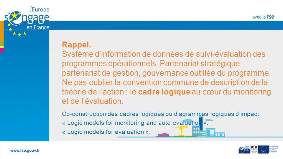 Rappel. Système d'information de données de suivi-évaluation des programmes opérationnels. Partenariat stratégique, partenariat de gestion, gouvernance outillée du programme. Ne pas oublier la convention commune de description de la théorie de l'action : le cadre logique au cœur du monitoring et de l'évaluation.