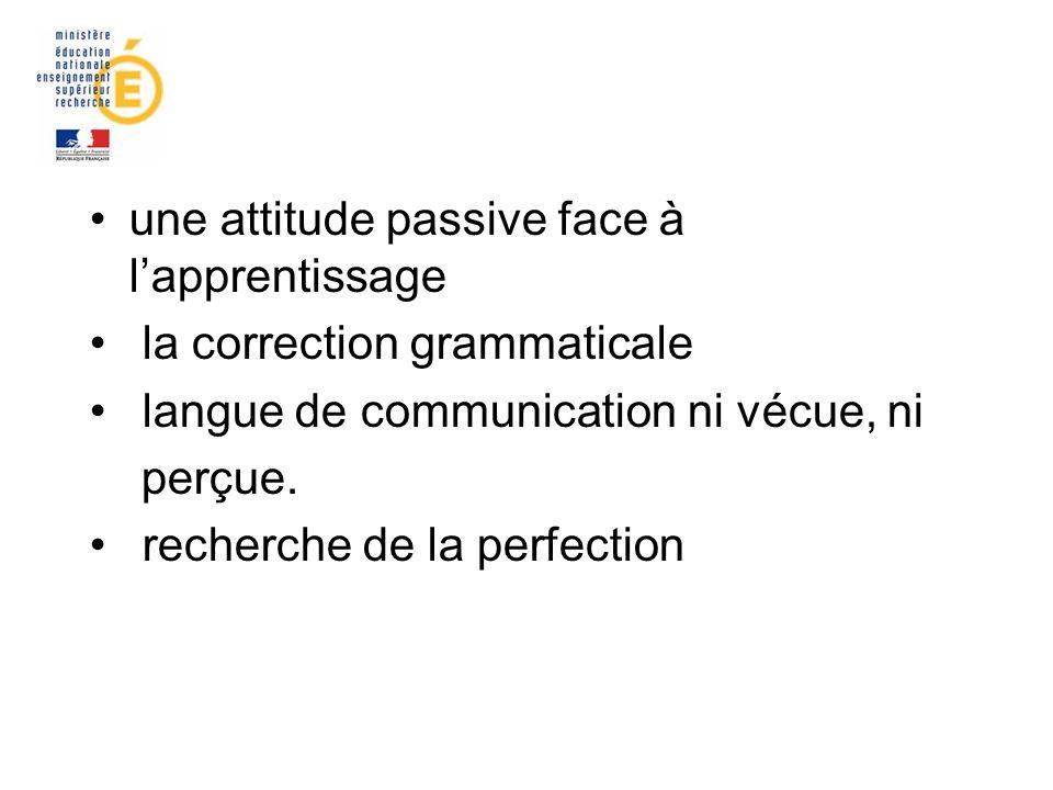 une attitude passive face à l'apprentissage
