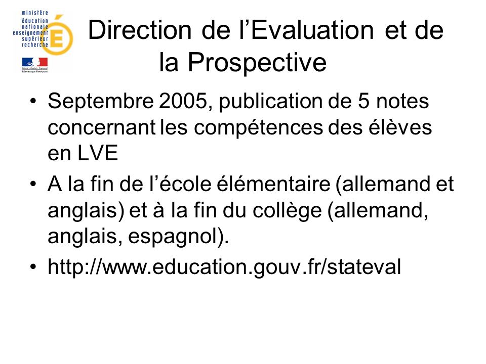 Direction de l'Evaluation et de la Prospective