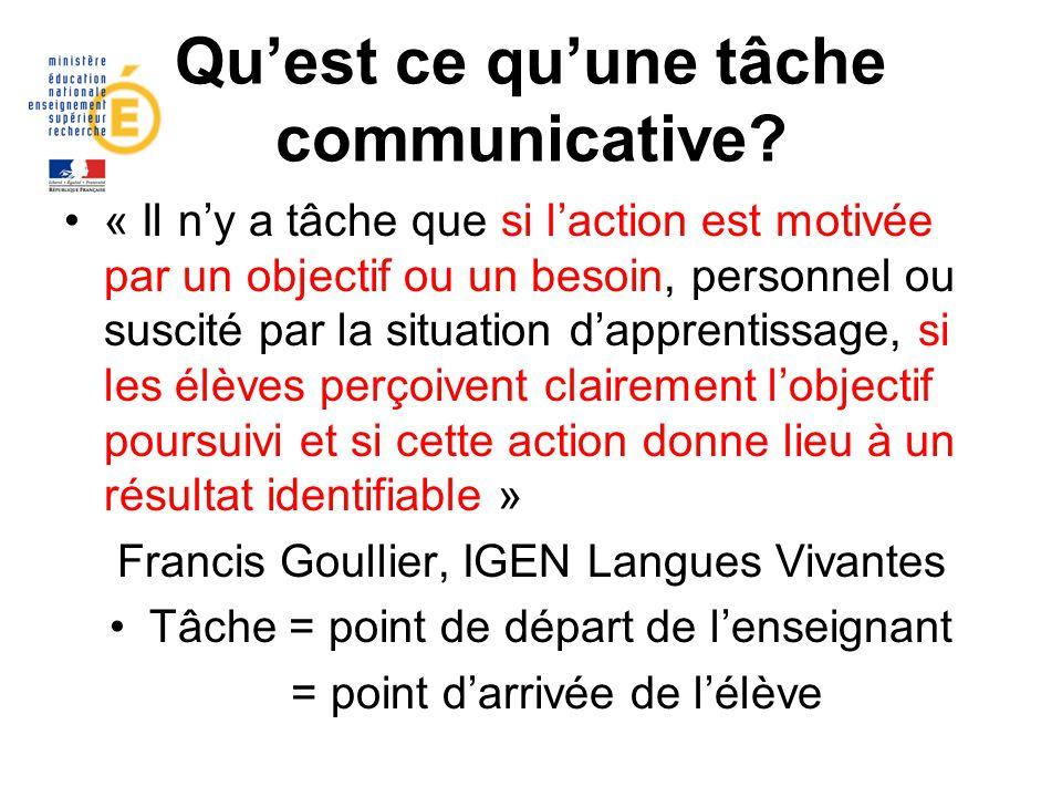 Qu'est ce qu'une tâche communicative