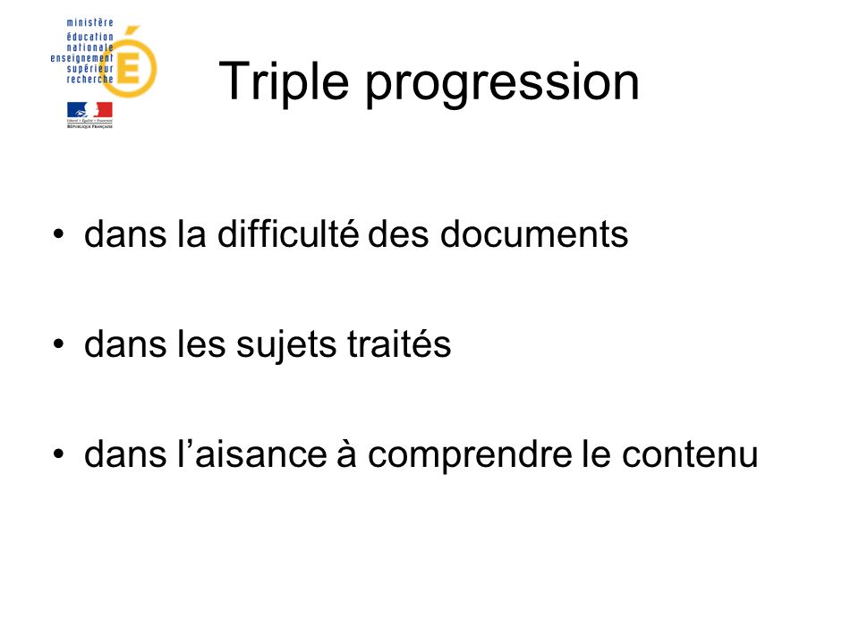 Triple progression dans la difficulté des documents
