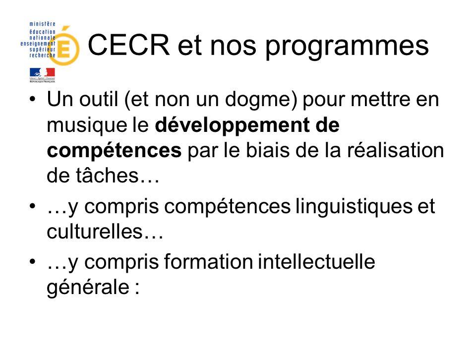 Le CECR et nos programmes