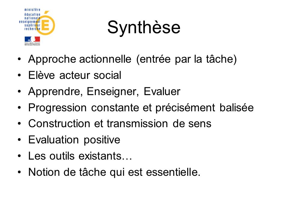 Synthèse Approche actionnelle (entrée par la tâche)