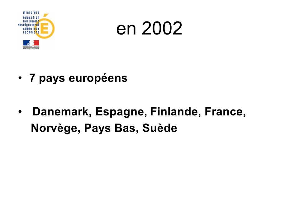 en 2002 7 pays européens Danemark, Espagne, Finlande, France,