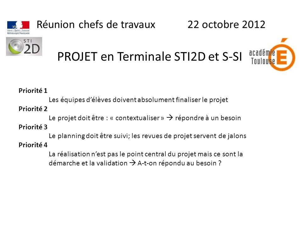 Réunion chefs de travaux 22 octobre 2012