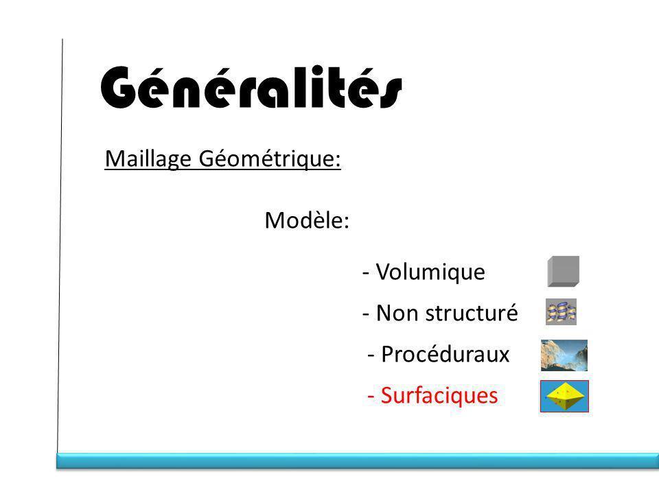 Généralités Maillage Géométrique: Modèle: - Volumique - Non structuré
