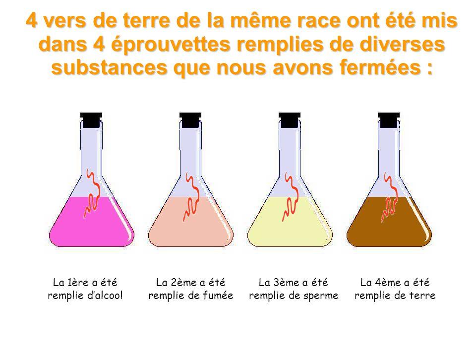 4 vers de terre de la même race ont été mis dans 4 éprouvettes remplies de diverses substances que nous avons fermées :