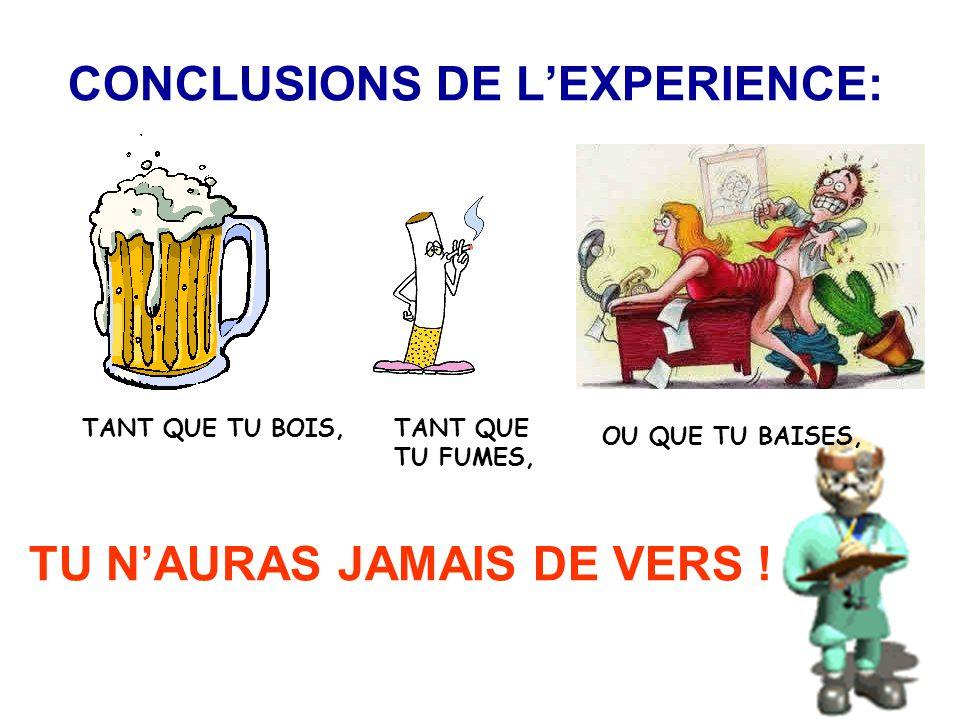 CONCLUSIONS DE L'EXPERIENCE: