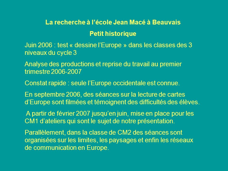 La recherche à l'école Jean Macé à Beauvais
